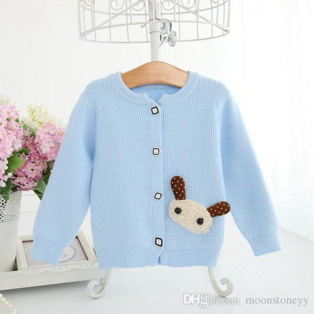 size 40 87e2c fb1f2 Maglione per bambini Cardigan in maglia di lana blu per le ragazze Vestiti  per bambini con cucitura di patch Cute Applique Capispalla Abbigliamento ...