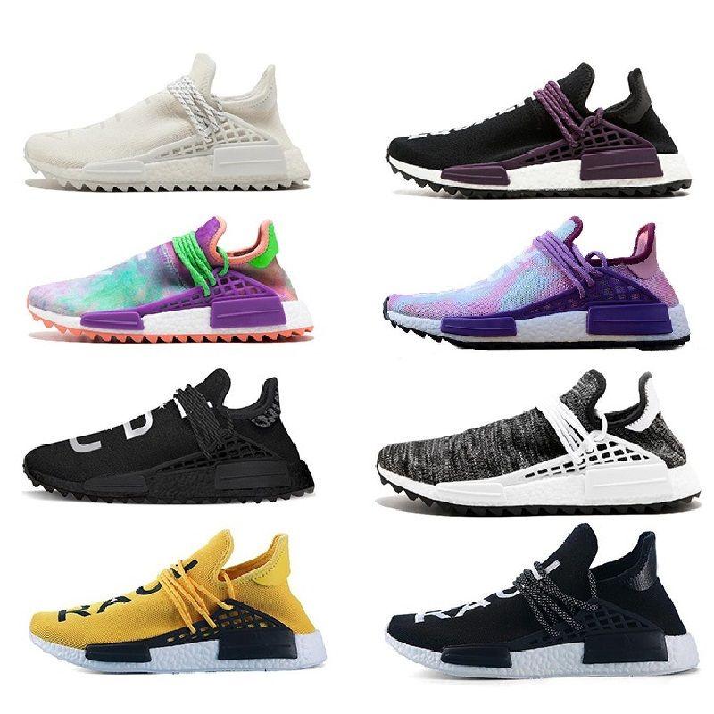 quite nice 9c3bc 2623b 2018 Raza Humana Pharrell Williams Hu Trail Cream Core Nerd Negro Equality  Holi Nobel Trainers De Tinta Mens Women Sports Sneakers Running Shoes Por  ...