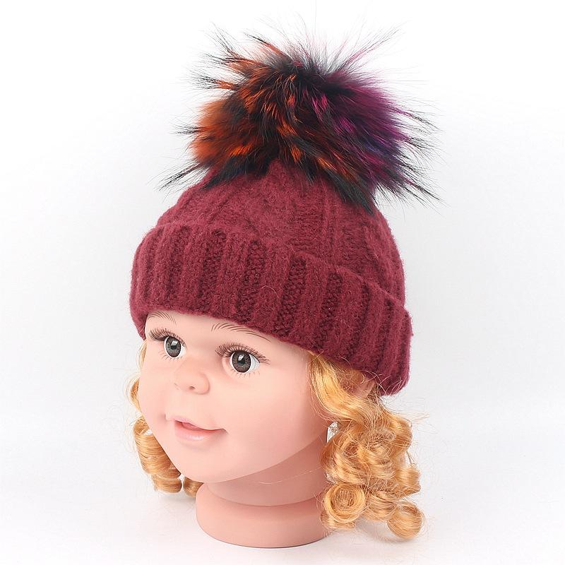 2019 Kids Real Fur Pom Pom Hat Baby Winter Crochet Earflap Hat Girls