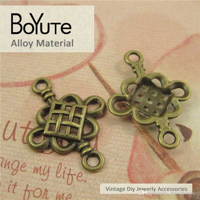 BoYuTe / 19*22MM Antique Bronze Plated Zinc Alloy Chinese Knot Charms for Jewelry Making Accessories Parts Diy Hand Made