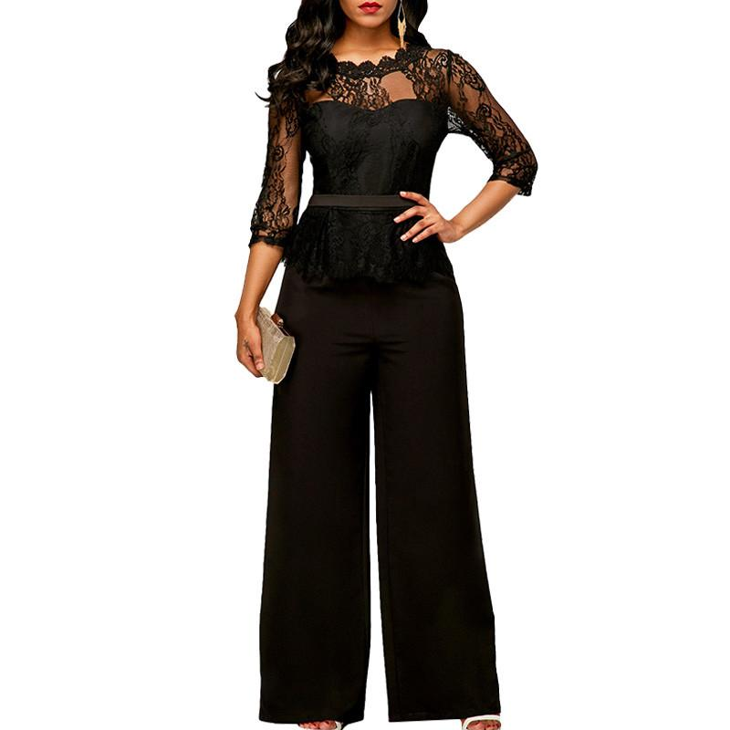 dca065a74c25 2019 EleFormal Sheer Black Lace Jumpsuit Womens Overalls Sexy Mesh Patchwork  Romper Loose Long Trousers Female Wide Leg Jumpsuit From Missher