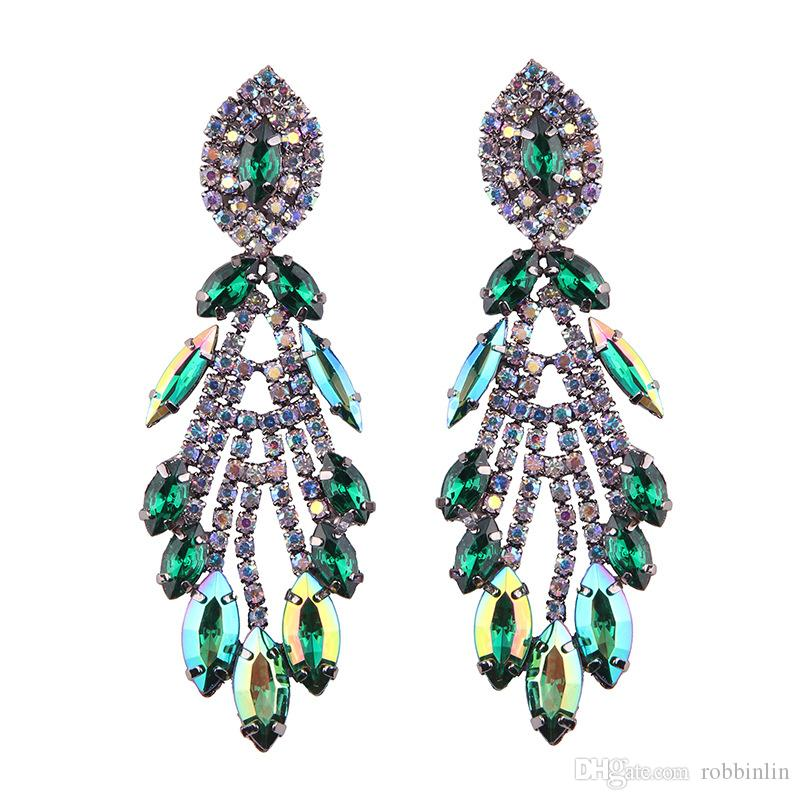 Big Design Luxury Water Drop Pendent Crystal Stud Gem Statement Earrings Jewelry for Women