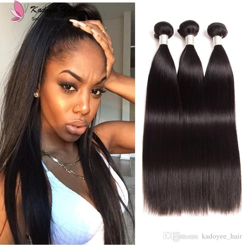 Cheap Best Brazilian Human Hair Weaves Silky Straight Virgin Remy Hair 3  Bundles For Full Head 8 28inch Peruvian Malaysian Hair Extensions Weft Weave  Hair ... 4b0fcbba2e4c