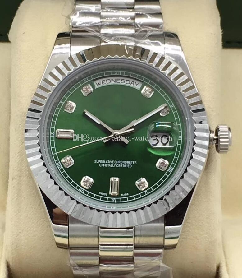 2 Color Luxury Aaa Brand Watch Day Date Ii 218238 Green Diamond Dial 41mm Stainless Steel Bracelet Movement Automatic Mens Wrist Watches