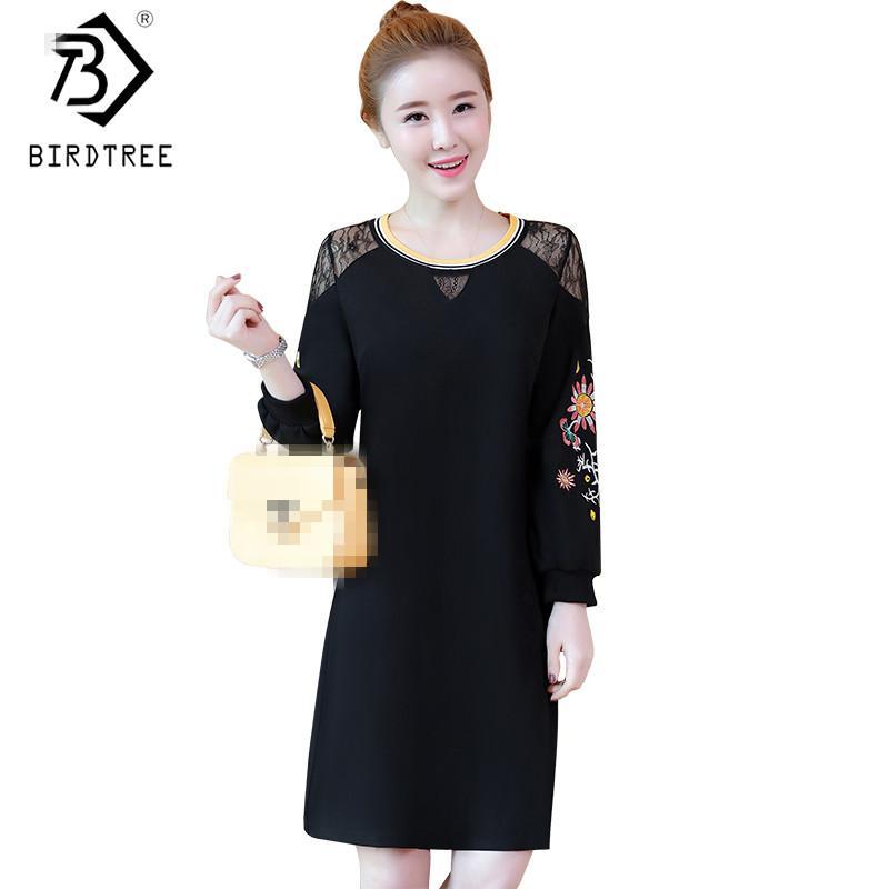 504bbc29e8a Acheter 2018 Printemps Noir Droite Broderie Femme Robes De Mode Au Genou  Longueur Dentelle Patchwork Femelle Robes Chaude Plus La Taille 5xl D82406c  De ...