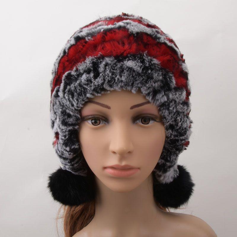 aa3d100ead08f 2019 Women Genuine Knitted Rex Rabbit Fur Hats Russian Hat Ushanka Natural  Stripe Rex Rabbit Fur Caps From Mangocc