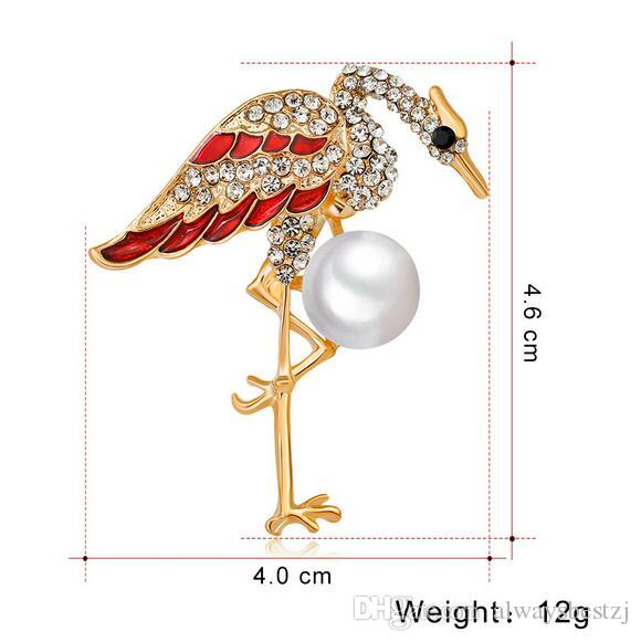 High-end Crystal Enamel Red Crowned Crane Brooch Pins Smooth Pearl Corsage Lapel Pin Women Wedding Party Jewelry Clothing Accessories