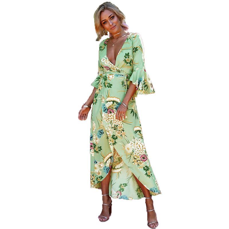 346ff80772e Acheter Floral Print Boho Robe Plage Maxi D Été Robe Femmes 2018 Casual Col  En V Vintage Bohème Sexy Robe Vert Longue Robes Midi Y1890604 De  24.29 Du  ...