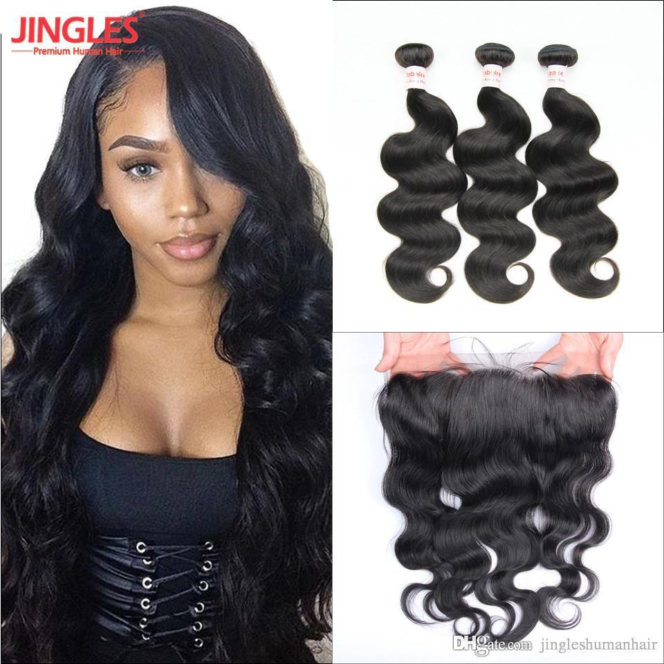 Strict 3 Bundles Malaysian Loose Wave With Pre Plucked Closure With Baby Hair Bouncy Curl No Shedding No Tangle Non Remy Black 1b 3/4 Bundles With Closure Hair Extensions & Wigs