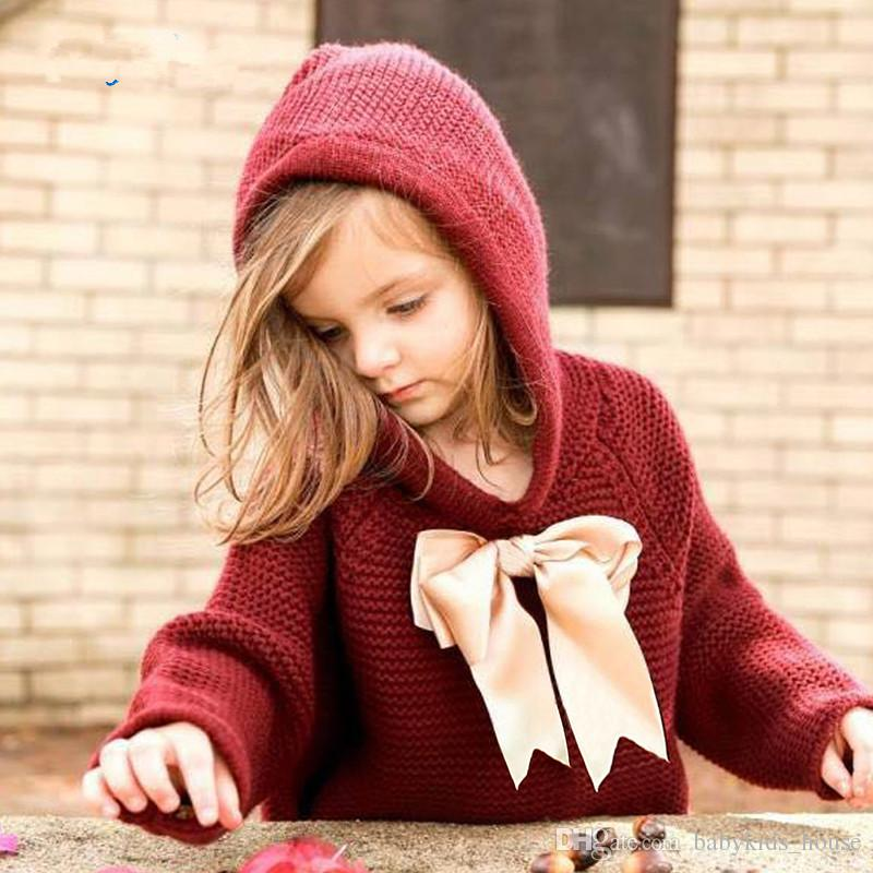 Baby Girls Sweaters Cape Autumn Hooded Children Knitted Cardigans ...