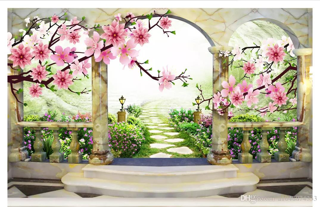 Wholesale-Customized photo wall mural wallpaper 3D three-dimensional peach blossom landscape European garden background wall painting
