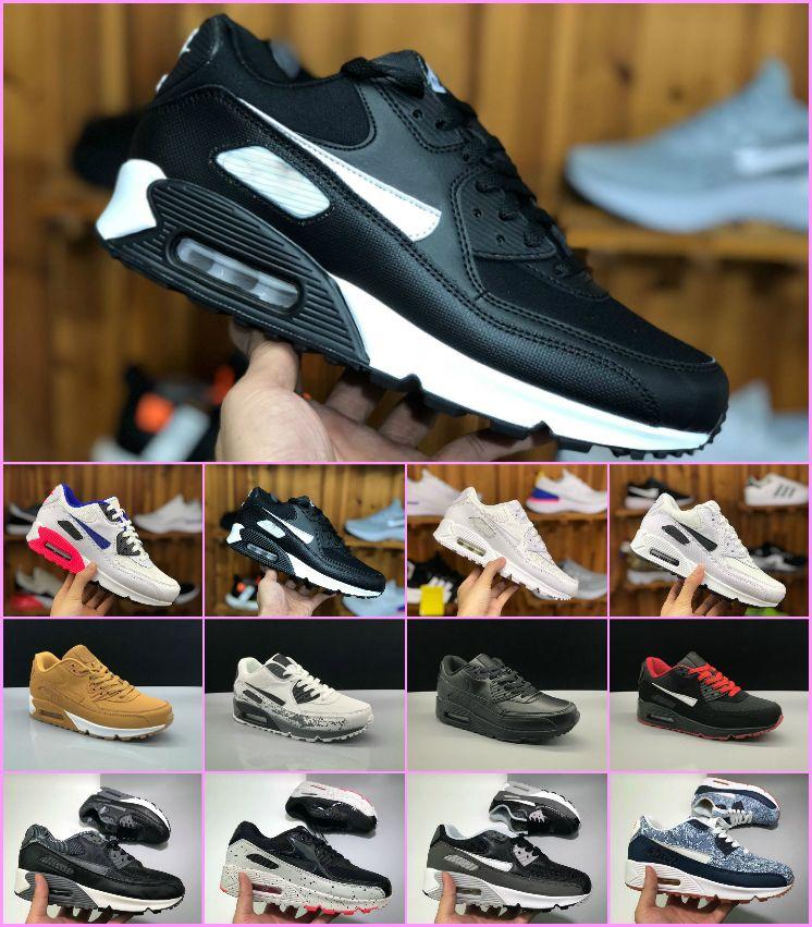 separation shoes 53d37 62ea1 Acheter Vente Chaude Air Cushion Air90 Casual Chaussures De Course Hommes  Femmes Haute Qualité Maxes Nouveau Noir Blanc Bleu Sneakers Pas Cher  Classique 90 ...
