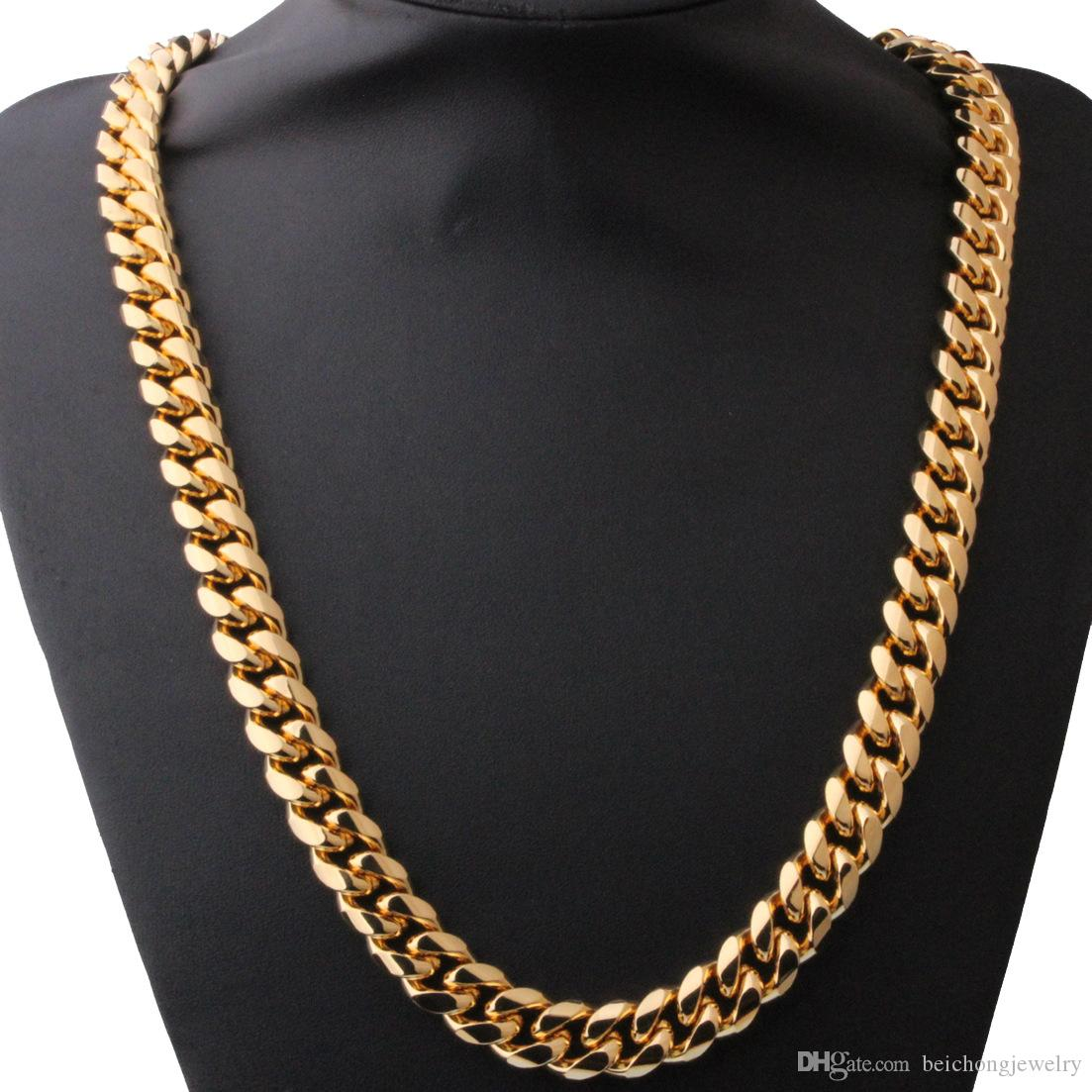 Beichong 15mm Mens Cuban Miami Link Necklace Stainless steel Rhinestone Clasp Iced Out Gold Silver Hip hop Chain Necklace