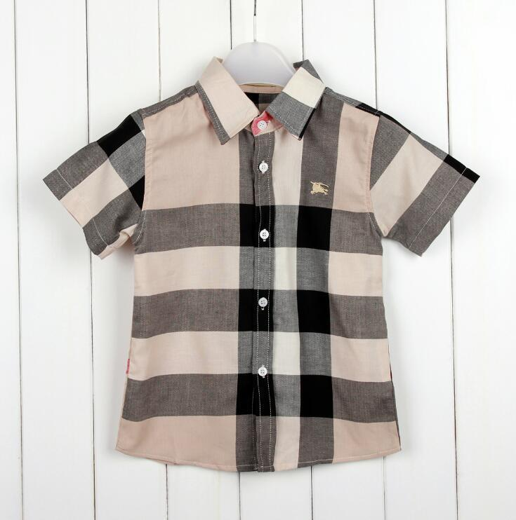 Summer New Pattern Popular High Quality Child Short Sleeve Shirt Pure Cotton Noble Temperament Lattice European Style Boys T Shirts
