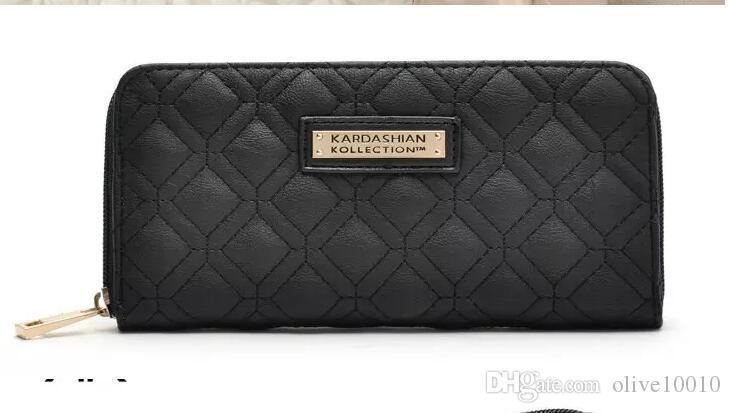 Elegantes mujeres Kim Kardashian Kollection KK carteras de marca de diseño bolsos bolsos portatarjetas de las mujeres Monederos de moda negro blanco