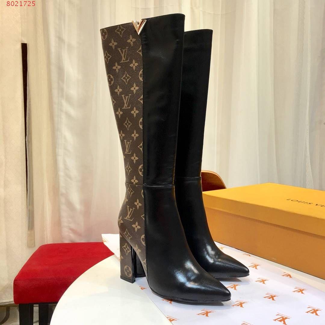 Botas de invierno para mujer de invierno Famosa marca de lujo, zapatos casuales, impresiones de moda de alta calidad, botas altas hasta el muslo,