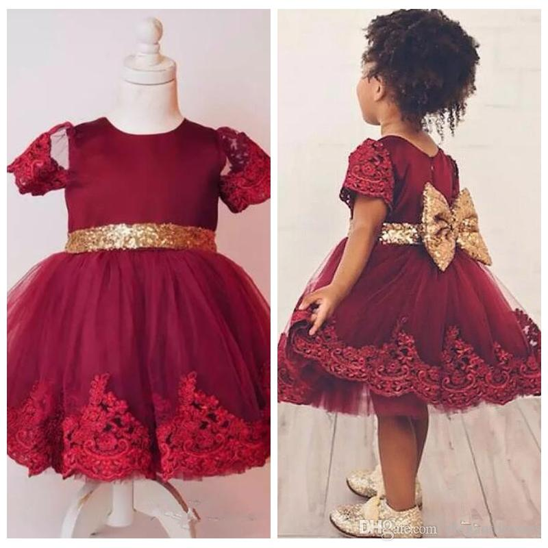 6d822d96a0fa 2018 Cute Burgundy Short Flower Girl Dresses Lace Appliques Knee Length  Tulle Girls Pageant Gowns With Gold Sequined Bow Back Birthday Gowns Gowns  Long ...