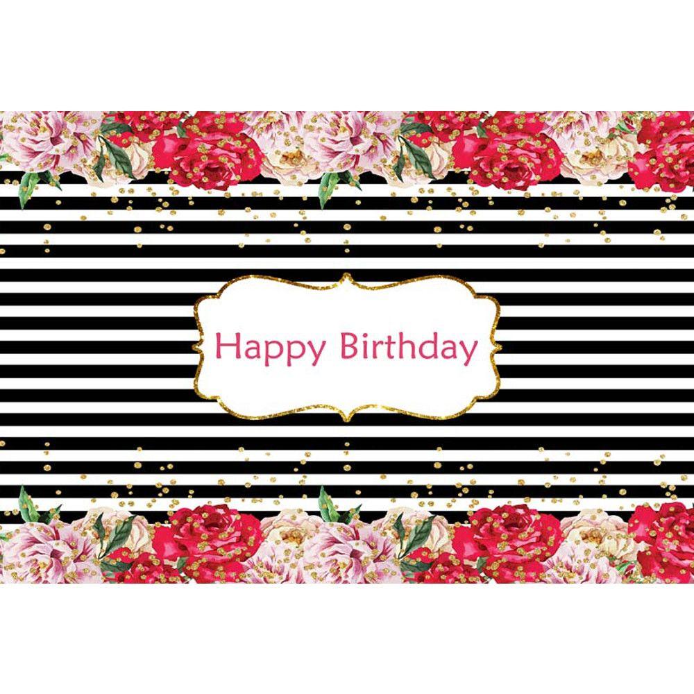 Acquista Contesto Di Buon Compleanno A Strisce In Bianco E Nero