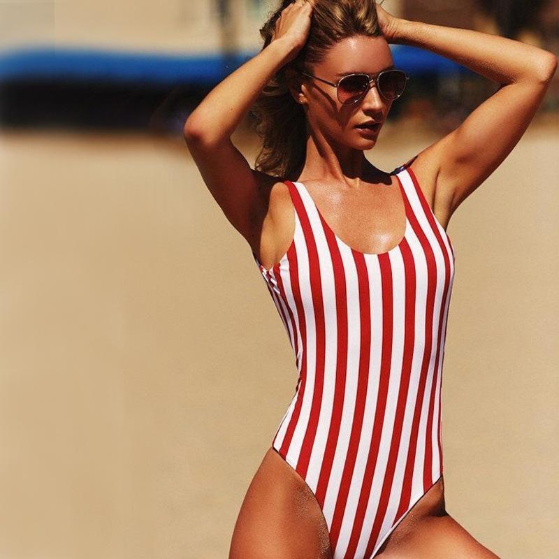 3985f3c980a90d Frauen Badeanzug Ein Stück Badebekleidung Weiblichen Streifen Bikini Push  Up Overall Weste Badeanzug Strandbader Sommer