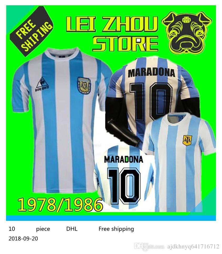 66b8c760a0 2019 1978 1986 Argentina Maradona Home Soccer Jersey Retro Version 86 78  Maradona Messi CANIGGIA Quality Football Shirt Batistuta In Stock From ...