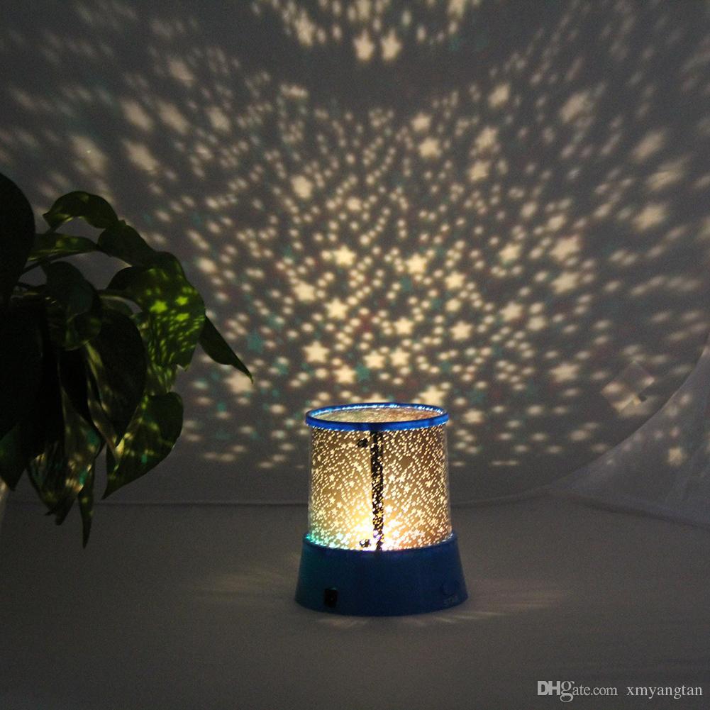 Noche de luz LED Electrónica proyector de la estrella del cielo estrellado de la luna Maestro niños de los niños del sueño del bebé de la lámpara de proyección del USB LED de colores románticos