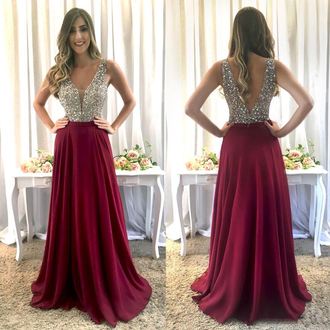 dd979e695237 Burgundy Long Formal Prom Dresses Long 2018 Elegant V Neck Sleeveless  Sparkly Crystals Beaded Bodice A Line Floor Length Chiffon Evening Gow Prom  Dresses ...