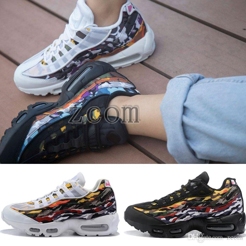 buy popular 456ab 310cf 2018 New 95 ERDL Party Goes Full Camo Multicolor Running Shoes Mens  Trainers Sports Sneakers Athletic Classic 95s Chaussures Zapatillas 7-12