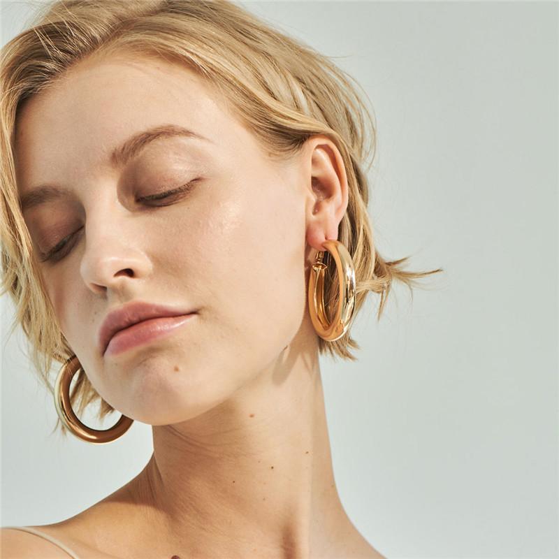 50 mm große Creolen Ohrringe minimalistischen dicken Rohr runden Kreis Ohrringe für Frauen Trendy Hiphop Schmuck Silber Gold Farbe Punk Schmuck