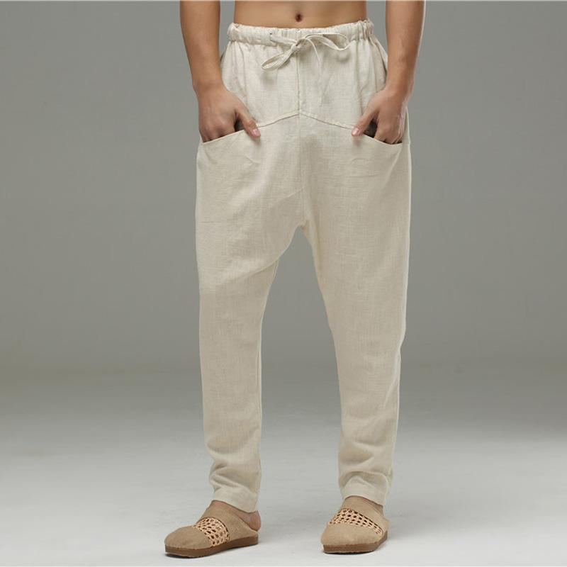 bebf70413b 2019 Men's Linen Haren Pants Comfortable Drop Crotch Cotton Linen Trousers  Men Soft Natural Flax Pants Elastic Waist Pokents Casual From Dayup, ...