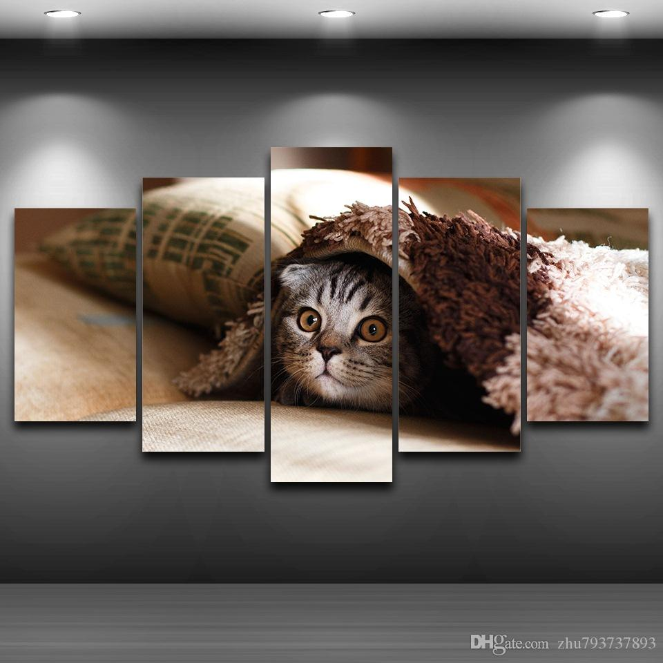 0d1cc9044 Compre Canvas Fotos Arte Da Parede 5 Peças De Gato De Estimação Rosto  Pinturas Home Decor HD Prints Animal Gatinho Cartazes Quadro Para Sala De  Estar De ...