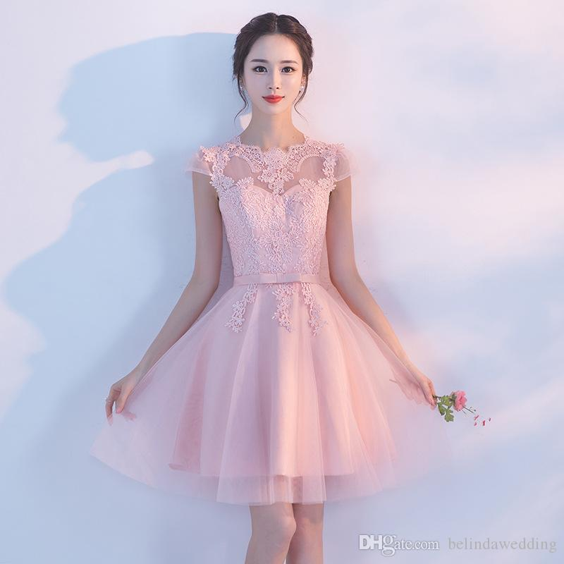 Short Tulle Homecoming Dress Knee Length Sheer Neck Cap Sleeves Appliques Lace  Tulle Ball Gowns Graduation Cocktail Dresses For Prom Party Debs Homecoming  ... 2a5d4a61b753