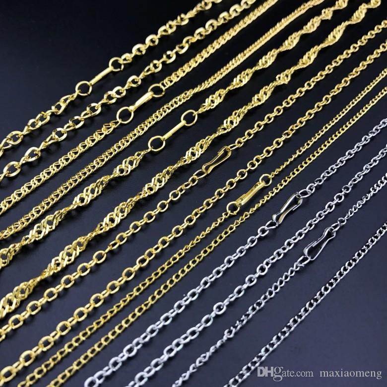 3 types Plating Vietnam sand Gold Necklaces Cheap chains without stimulation Shining Imitation gold Necklaces Small gift