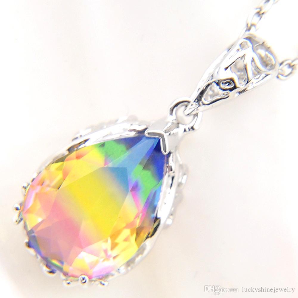 Luckyshien más nueva del estilo 925 collar de plata de ley gotas de agua sandía turmalina colgante gemas mujeres joyería regalo de boda Engagemets