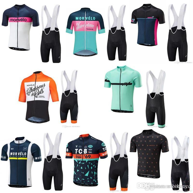 Morvelo Team Cycling Short Sleeves Jersey Bib Shorts Sets Summer ... 16a66045f