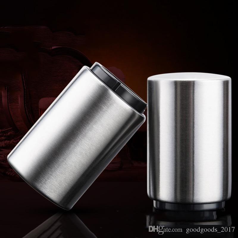 Nouveau Décapsuleur automatique à ouverture magnétique en acier inoxydable Décapsuleur automatique Décapsuleur à cylindre argenté MK215