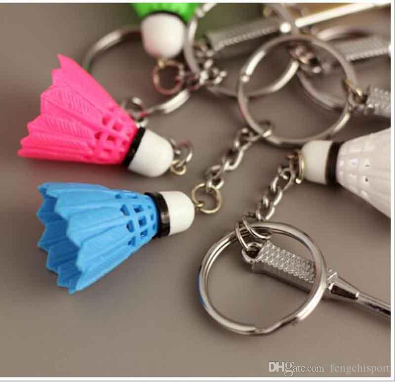 Llavero de bádminton deportivo para los hombres y las mujeres llavero titular de plástico volante llavero de aleación de zinc titular de la clave de joyería de moda