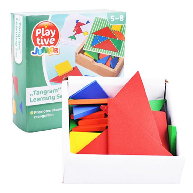 Color changed DIY jigsaw puzzle toys Wooden children educational toys baby play junior tangram learning set MU896265