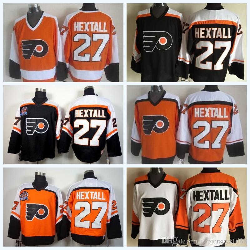 2018 Mens 27 Ron Hextall Orange White Black Vintage CCM Retro 100 ... f257e0110