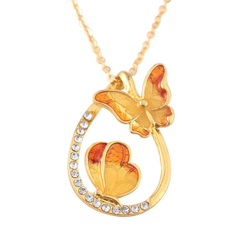 Wholesale Water Drop Painting Necklace 2 Butterfly Pendant Gold