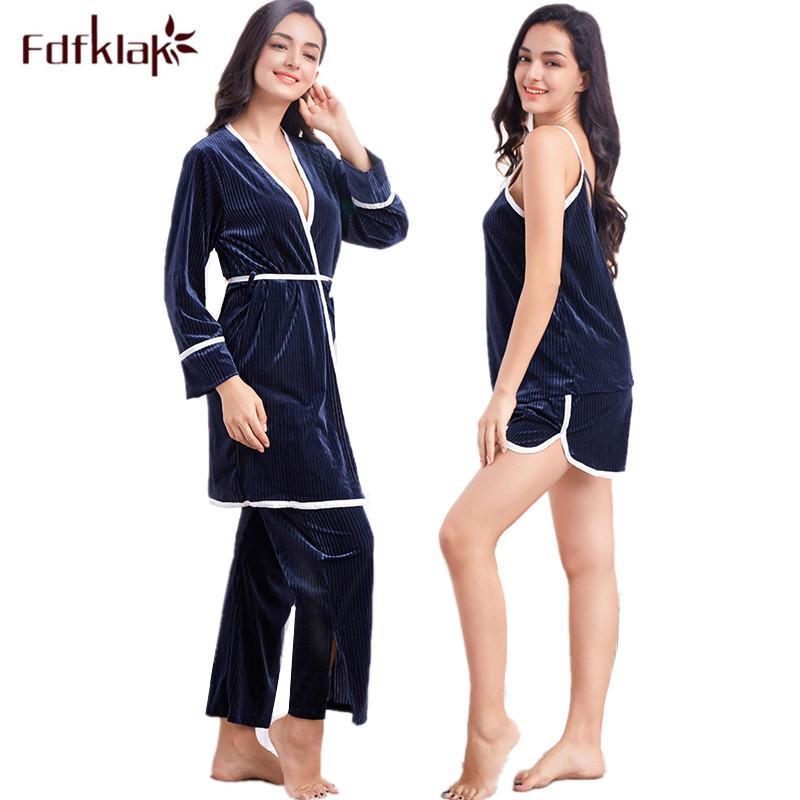 681503b7e Compre Fdfklak 7 Piezas Pijamas Conjunto De Moda De Invierno Pijamas  Mujeres De Manga Larga Ropa De Dormir De Las Mujeres Traje De Casa Ropa  Sexy Pijamas ...