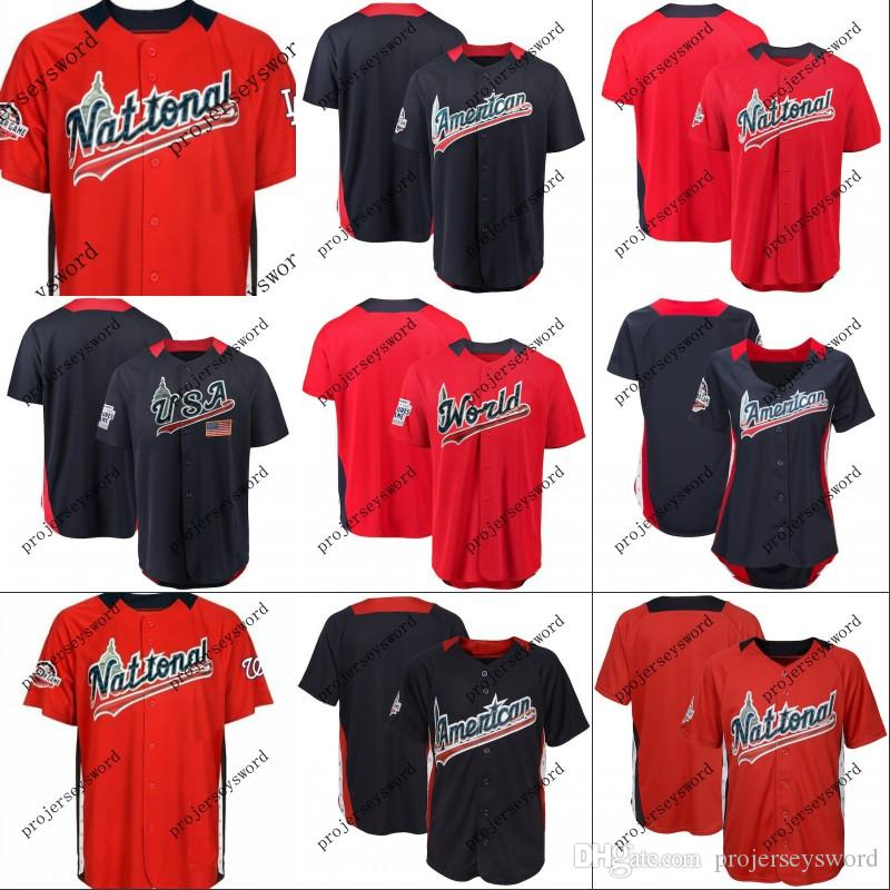 8bb70dadc52 2019 2018 All Star Game Personalized Jersey Mens Womens Youth American  National League Team World USA Navy Red Any Name Any Number S XXXL From ...