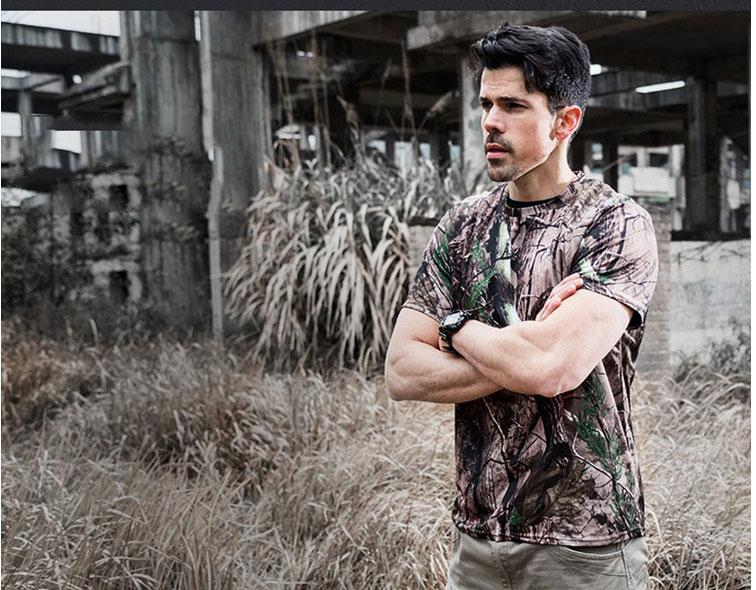 Tactical T-shirt Compress Quick Dry Camouflage Tee Shirts Men Clothes Military Army Hunter Combat Camo Short Sleeved T-shirts