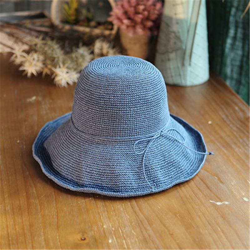 004919567 2018 summer New Women s Hollow Crochet Hats Dome Summer Mesh For Women  Straw Hat Foldable Sun Hat Beach Fashio RR