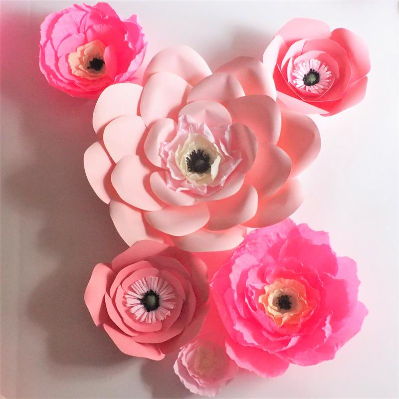 Unique pink giant cardstock crepe paper flowers wedding event unique pink giant cardstock crepe paper flowers wedding event decor baby nursery windows display mix size 10 50cm crepe paper flower decorations home mightylinksfo