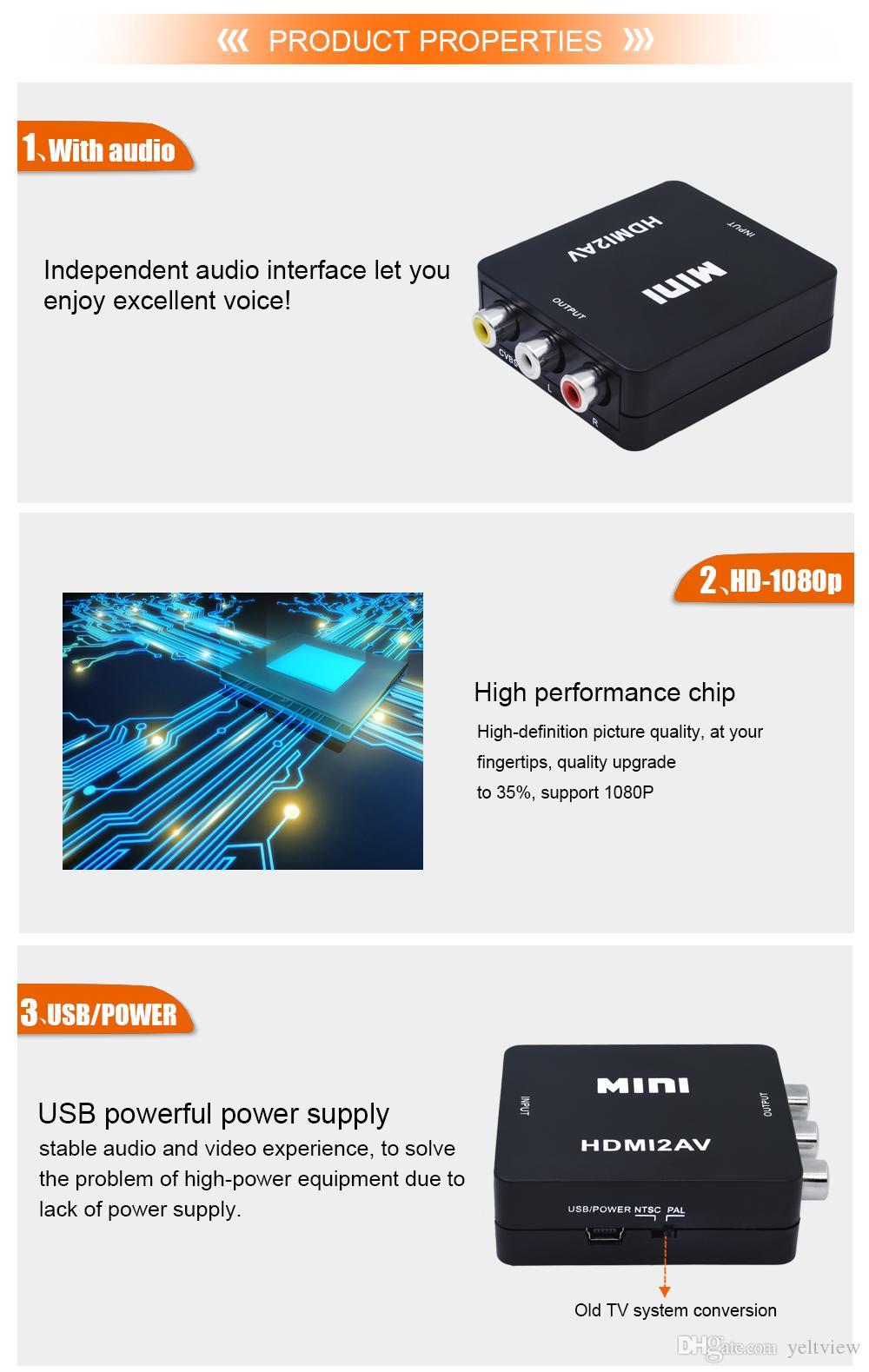 HDMI To RCA AV CVBS Female Adapter With Audio Mini HDMI2AV Composite 1080p Video 3.5mm Optical Converter Box For HDTV PC DVD