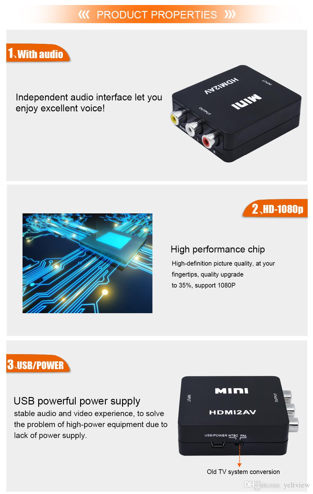 Mini HDMI2AV Composite For HDMI To RCA AV CVBS Female Adapter 1080p Video 3.5mm Optical Audio Cable Converter Box For HDTV PC