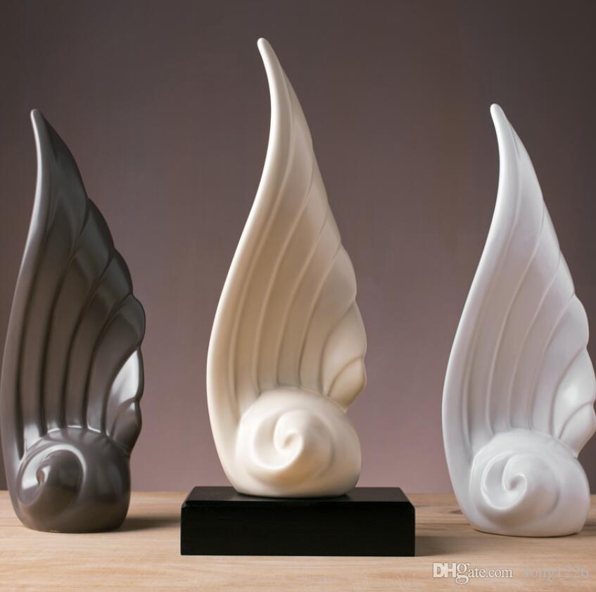 2019 Ceramic Creative Wings Figurine Home Decor Crafts Room Decoration Objects Office Ornament Porcelain Figurines Wedding From Dong1226