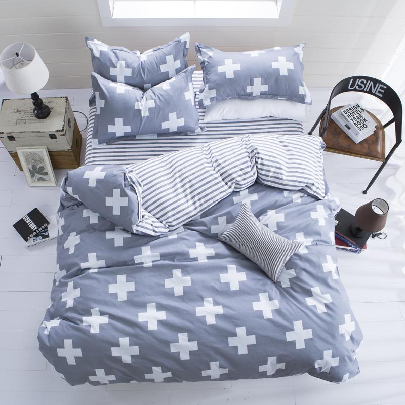 White Cross on Gray Bedding Set Pastoral Flowers Cotton Bed Linen Bedspread Duvet Cover Set Flat Sheet Pillowcase Free Shipping