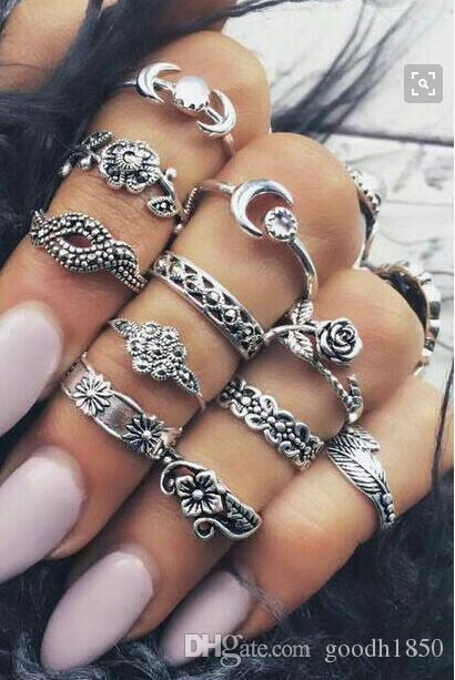 Fashion new combination finger rings sets,high quality allon materials,nice metal electroplate ring sets colours choose