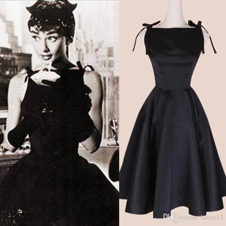 2019 Hot Sale Audrey Hepburn Black Dress 2018 Black A Line Bowknot